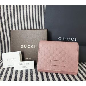 Gucci Pink Micro GG Guccissima Wallet W/Coin